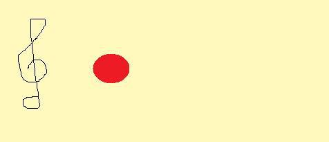 わかりやすいように5線を省略し基本の音符を赤色とします。