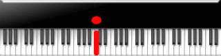 赤い音符がこの鍵盤だとします。